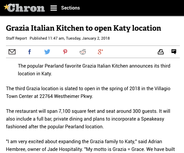 Grazia Italian Kitchen to open Katy location
